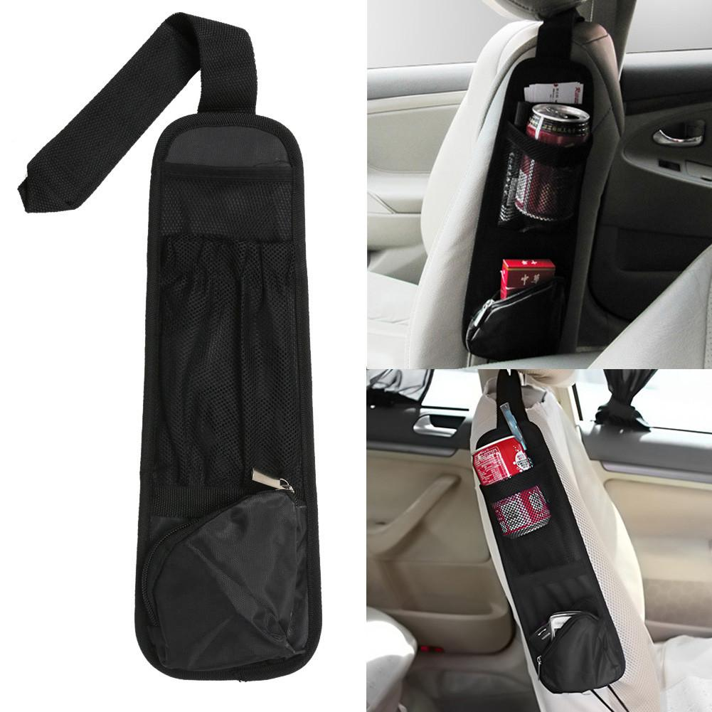 Car Hanging Storage Bag Car Organizer Auto Vehicle Seat Side Bag Pocket Bags Sundries Holder Nylon 37*12cm Black car-styling