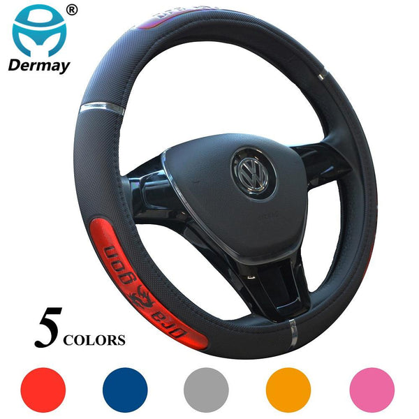 DERMAY Sell Dragon Design Faux Leather Auto Car Steering Wheel Cover 38CM 15'' Anti-catch Holder Protector