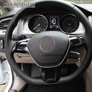 For Volkswagen VW Golf 7 GTI MK7 POLO 2014 2015 Jetta MK6 2015 car steering wheel cover ABS chrome trim decoration sticker