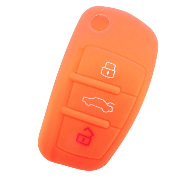 Car Silicone Key Case Cover 3 Buttoms Shell For Audi A1 A3 Q3 Q7 R8 A6L