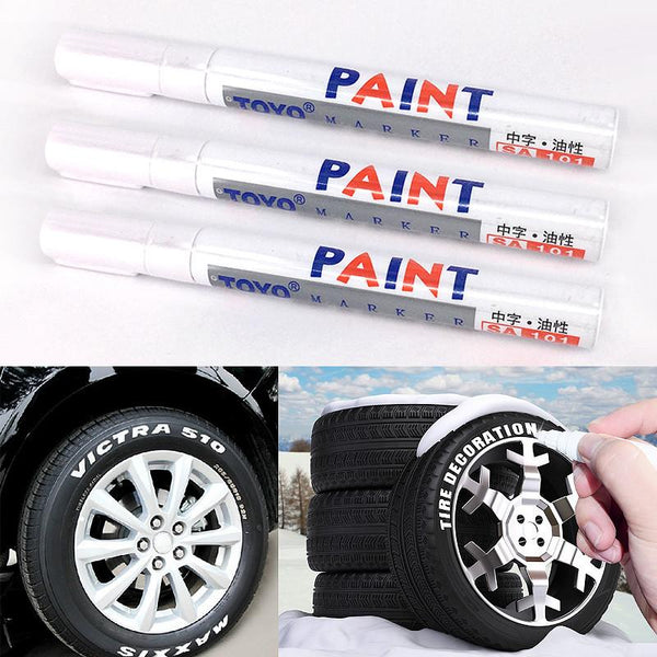 White Tire Tread Rubber Paint Marker paint-mending Pen Car Motorcycle Tire Metal