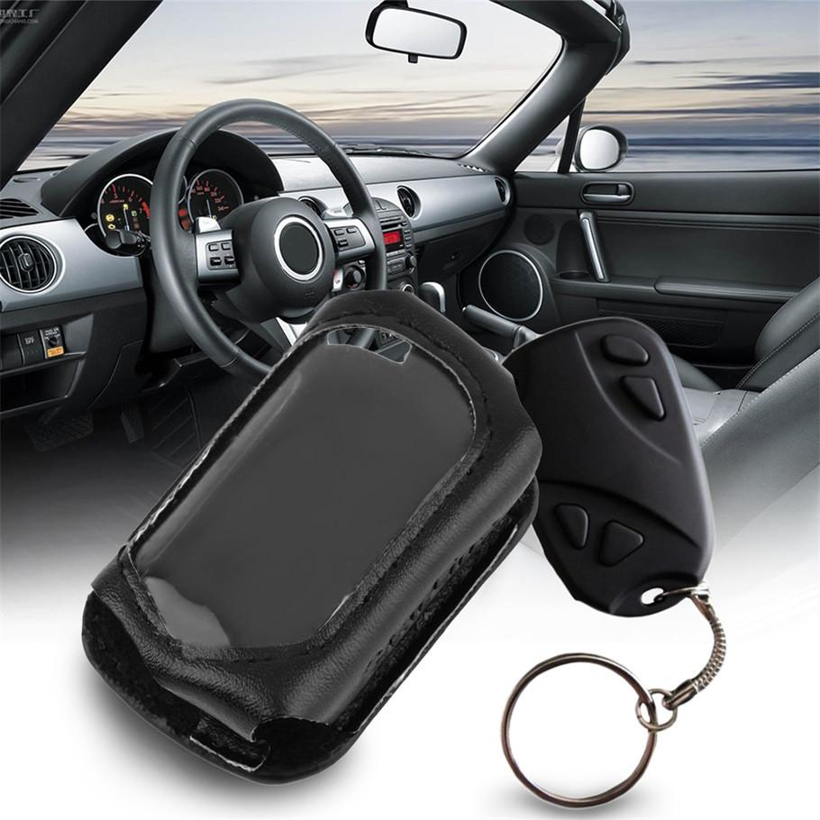 leather car key case for B9 LCD Remote FOR Starline B9 B6 A91 A61Keychain Two Way Car Alarm with Leather Case