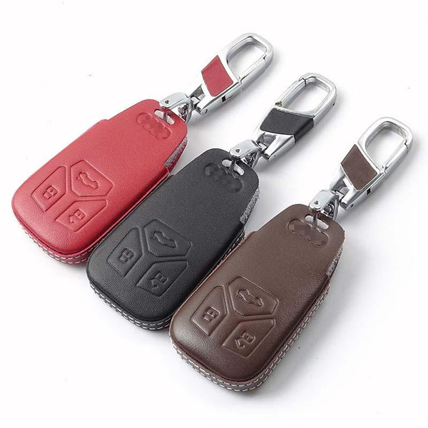Leather Car Styling Key Cover Case For audi a4 b9 q7 4m tt 8s Auto Accessories 2016 2017