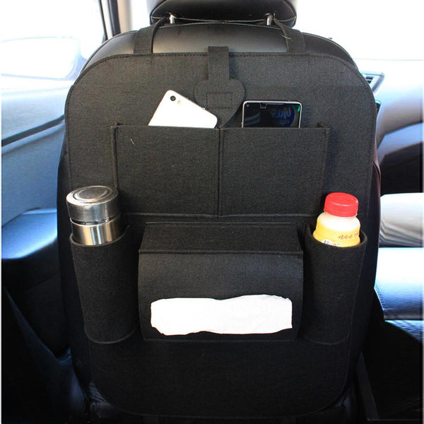 Multi-Pocket Back Seat Storage Car Seat Cover Organizer Car Felt Covers Back Seat Organizer Cup Food Phone Bag