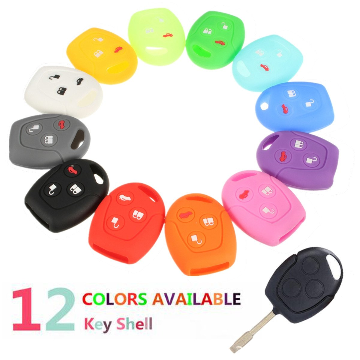 Multicolor 3 Botton Silicone Remote Key Case Cover for FORD Focus Mondeo for Festiva Galaxy C-Max 9702 12 Colors