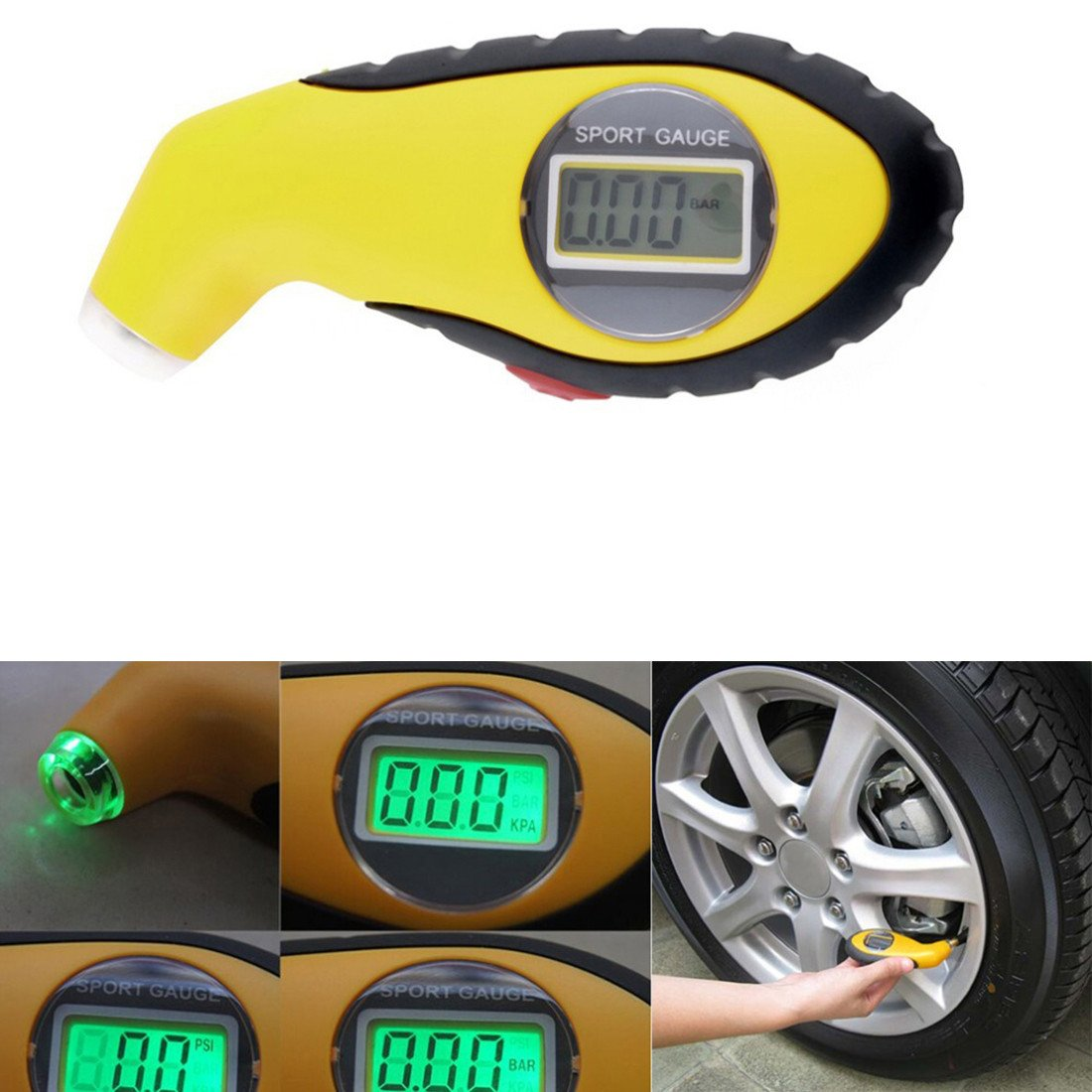 PSI Digital Tire Tyre Air Pressure Gauge Tester Tool For Auto Car Motorcycle PSI KPA BAR