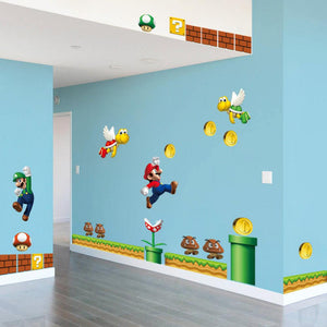 On Super Mario Bros PVC Wall Sticker decals Home Decor For Kids Baby Room Decor