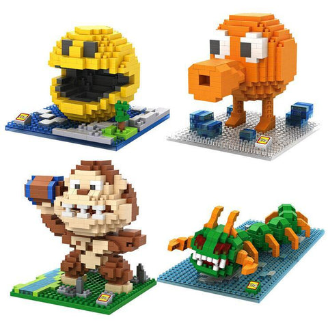 Pixels PacMan Micro Blocks Model DIY Assemble Action Mini Figures Donkey Kong Qbert Building Kit Toy Boy Cartoon 9617-9620