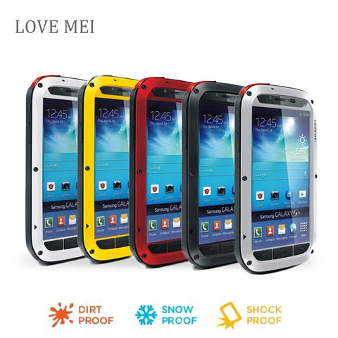 s4 i9500 Love Mei Waterproof Shockproof Gorilla Glass Metal Aluminum Case Cover For samsung galaxy s4 Three proofing phone cases