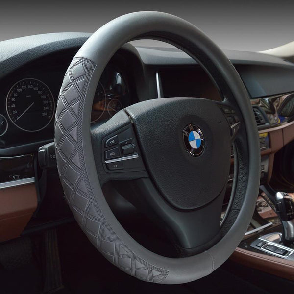 Sport Car Steering Wheel Cover Leather Steering-Wheel Covers Universal Size M 38cm Black Auto Steering Interior Accessories