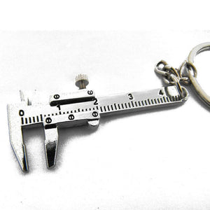 Univeral Car Styling Metal Movable Vernier Caliper Ruler Model Keychain Key Chain Keyring Keyfob Tool Accessories