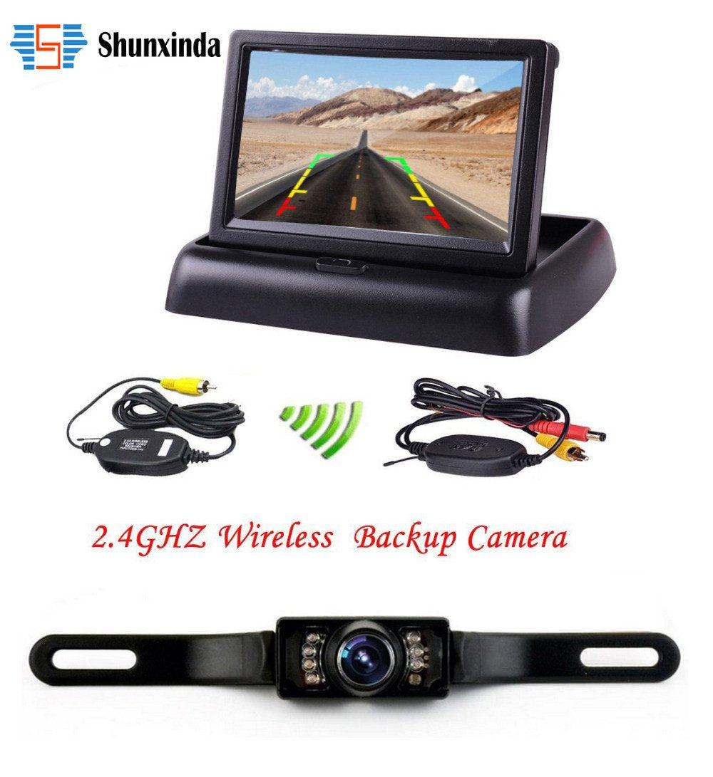 "Wireless HD 4.3"" LCD Foldable Car Monitor Rear View Camera Backup Parking Reverse Camera IR Night Vision"