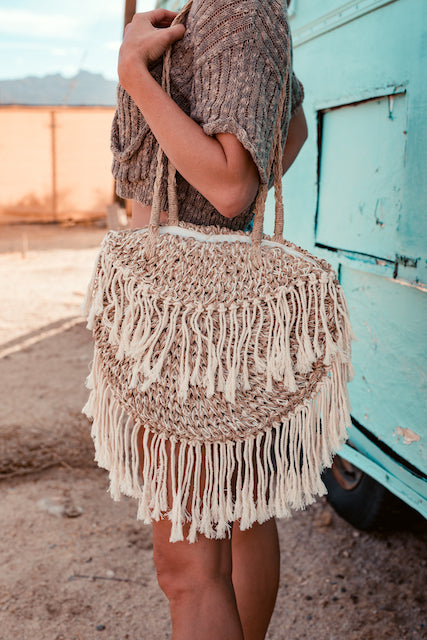 NATURAL FRINGE BAG