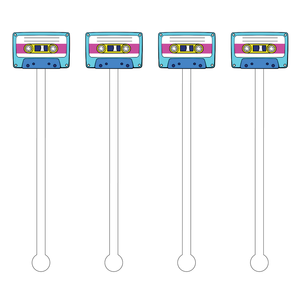 CASSETTE TAPE ACRYLIC STIR STICKS