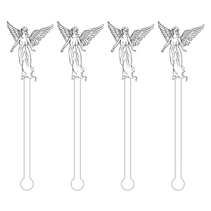 BLACK OUTLINE ANGEL ACRYLIC STIR STICKS