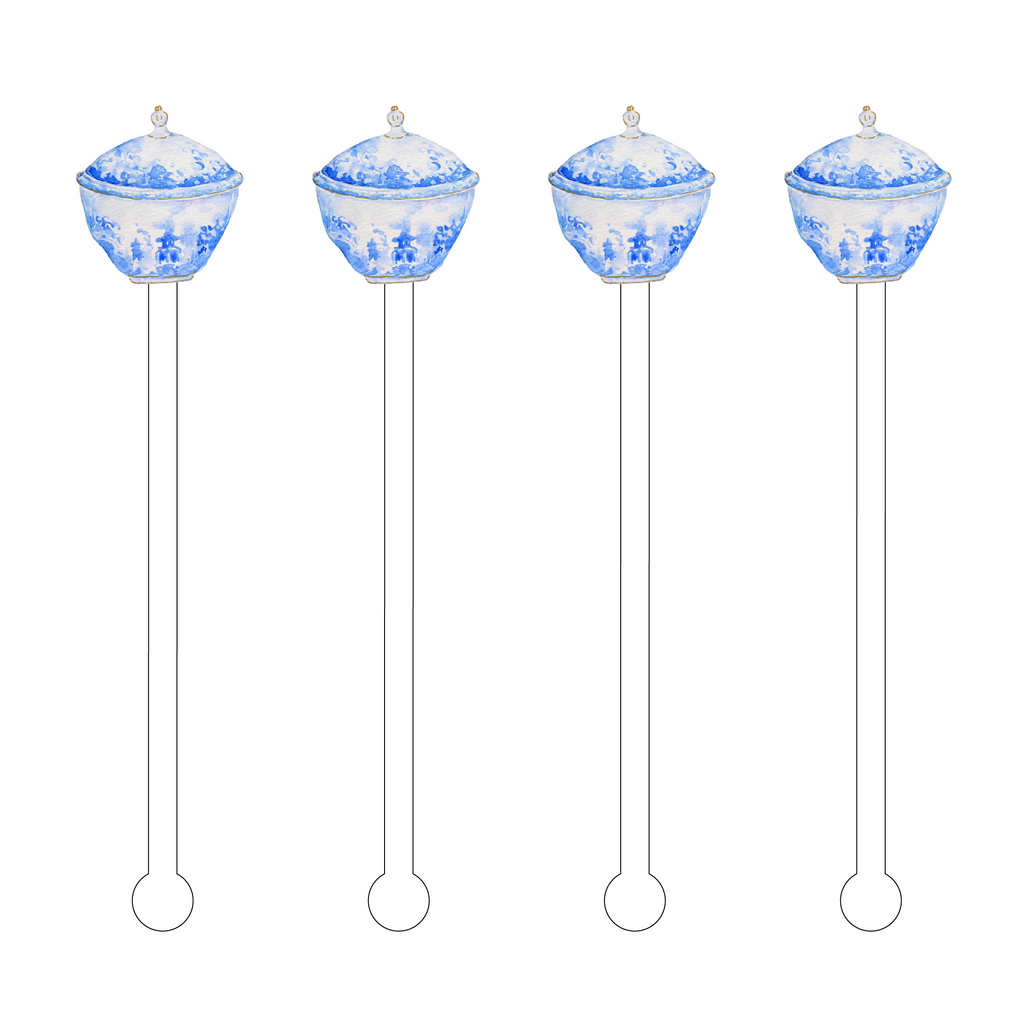 BLUE & WHITE BOWL ACRYLIC STIR STICKS