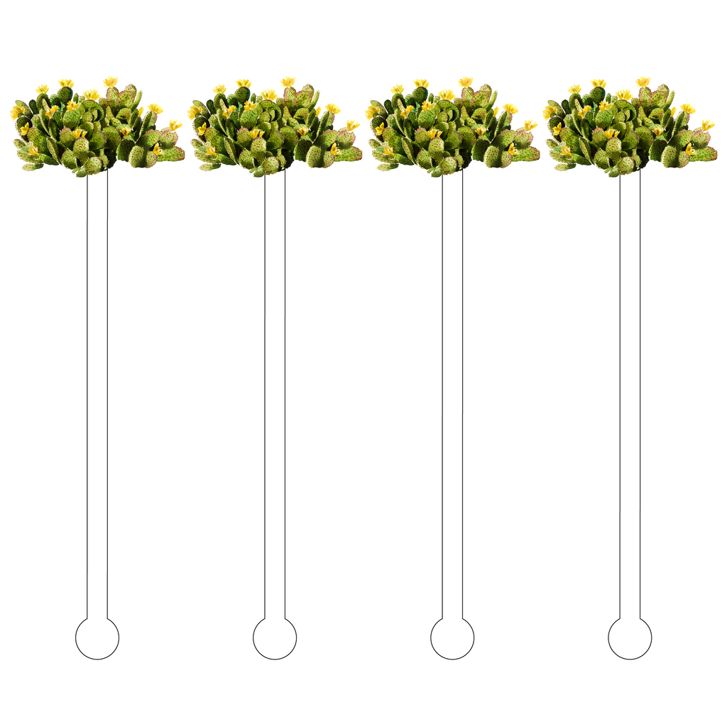 BUTTER BLOOMS PRICKLY PEAR CACTUS ACRYLIC STIR STICKS
