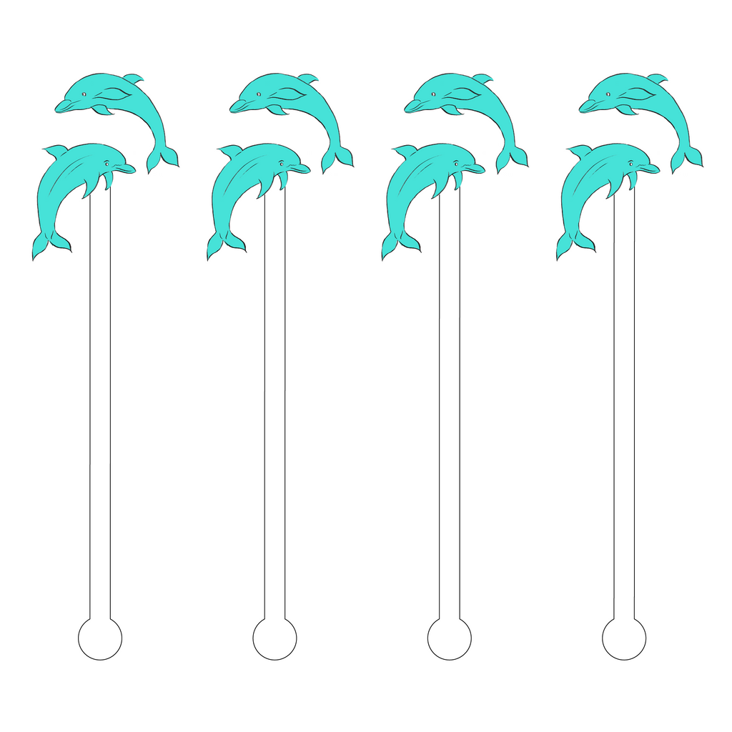 DIVING DOLPHINS ACRYLIC STIR STICKS