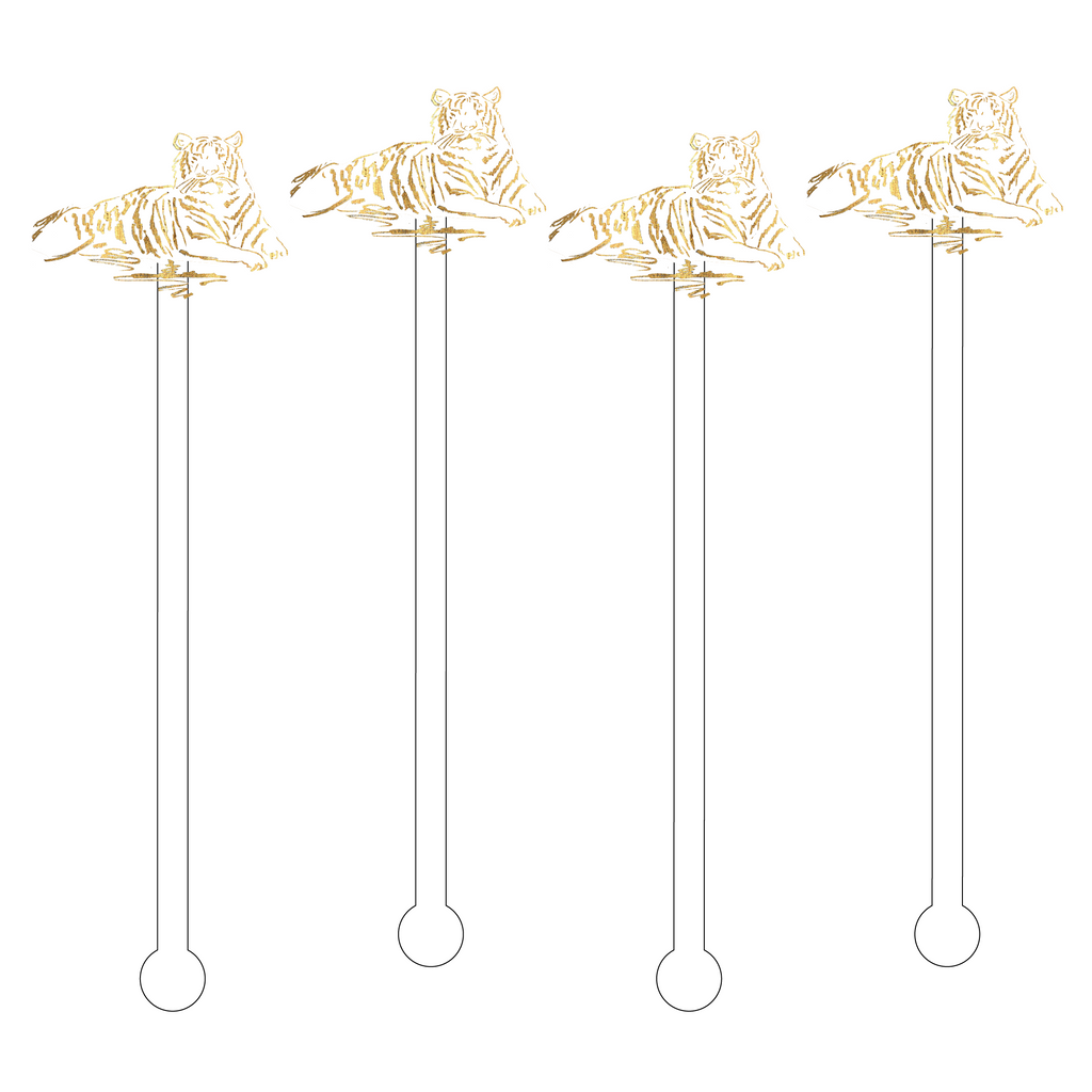 GOLD MALE TIGER ACRYLIC STIR STICKS