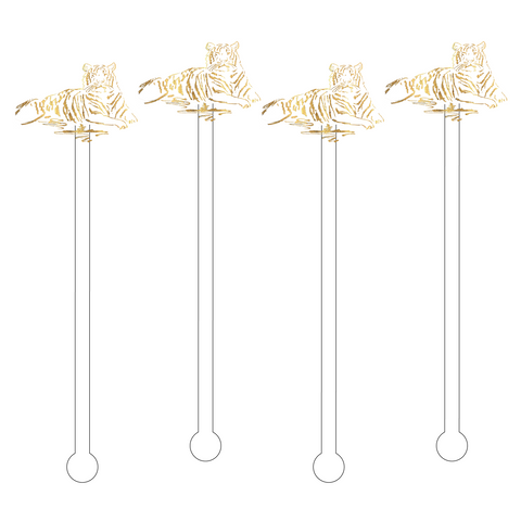 GOLD FEMALE TIGER ACRYLIC STIR STICKS