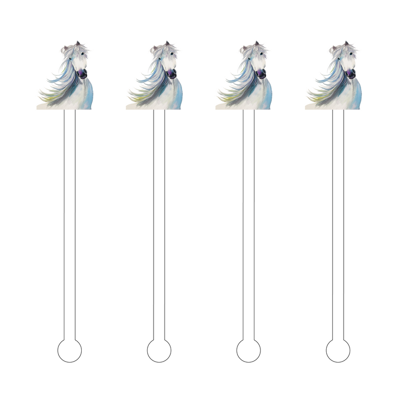 WHITE STALLION ACRYLIC STIR STICKS