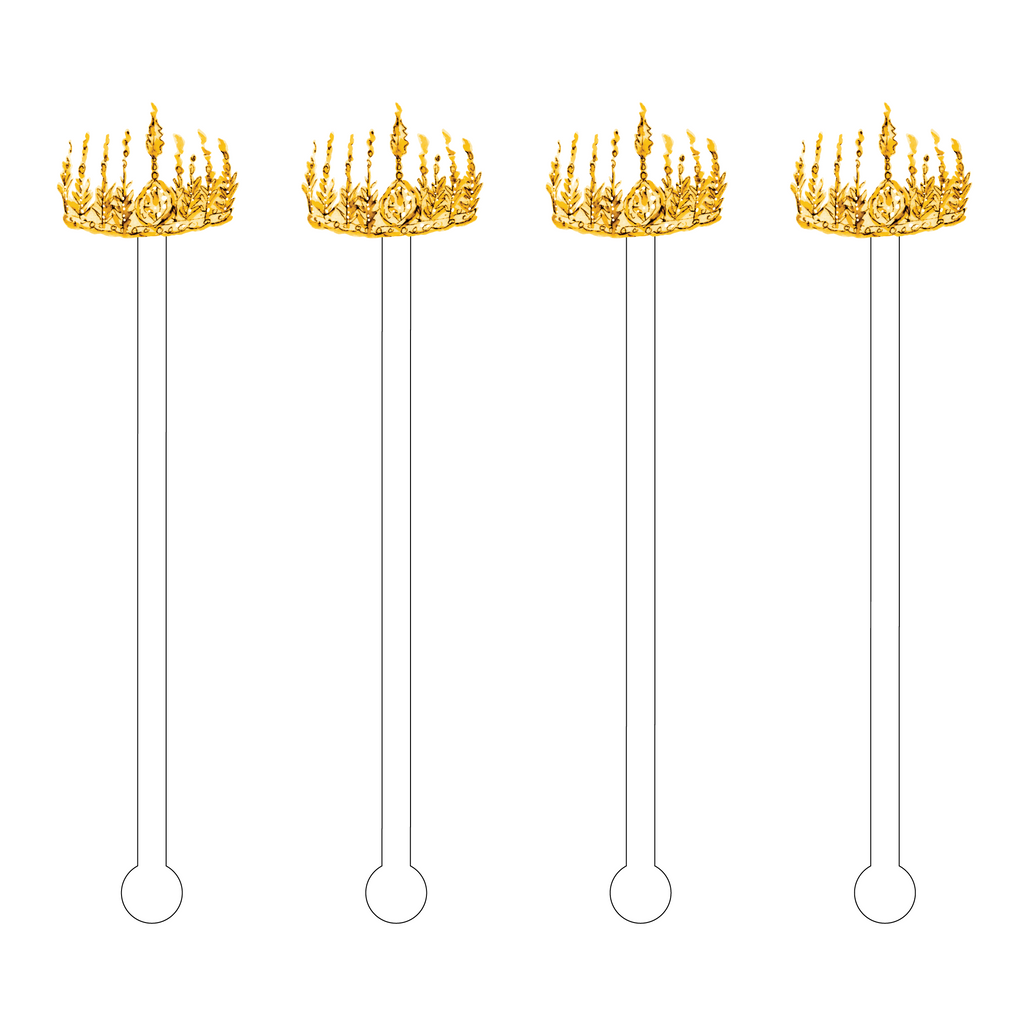 GOLD GUILD CROWN ACRYLIC STIR STICKS