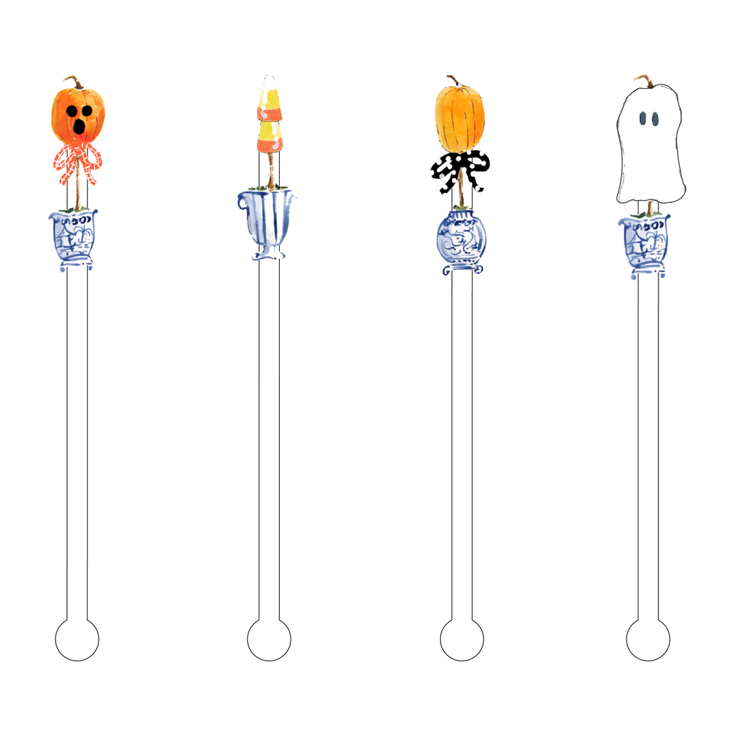 HALLOWEEN TOPIARY CUTIES ACRYLIC STIR STICKS COMBO