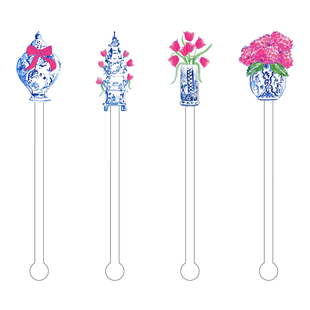 BLUE & WHITE TULIPERIE ACRYLIC STIR STICKS COMBO