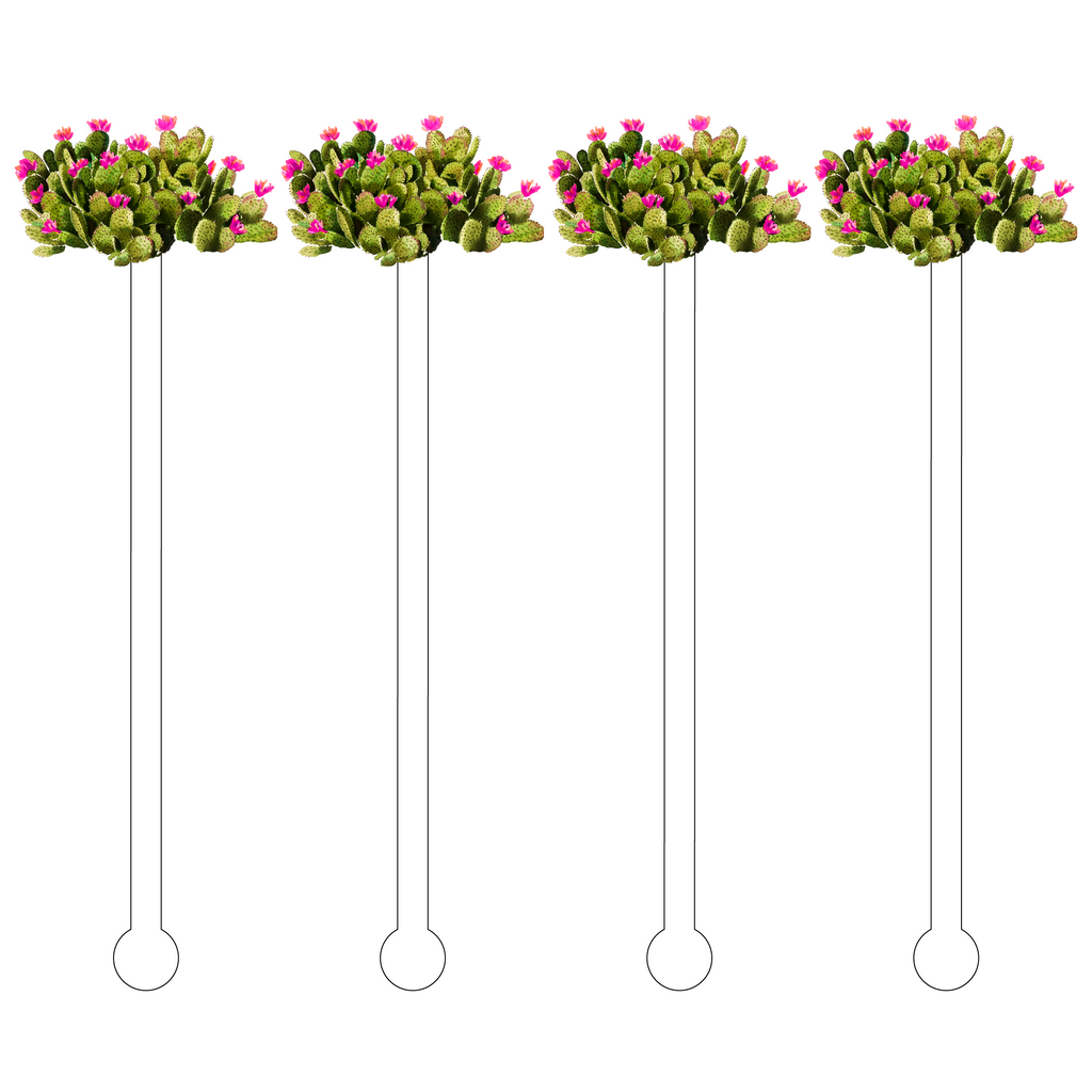 HOT PINK BLOOMS PRICKLY PEAR CACTUS ACRYLIC STIR STICKS