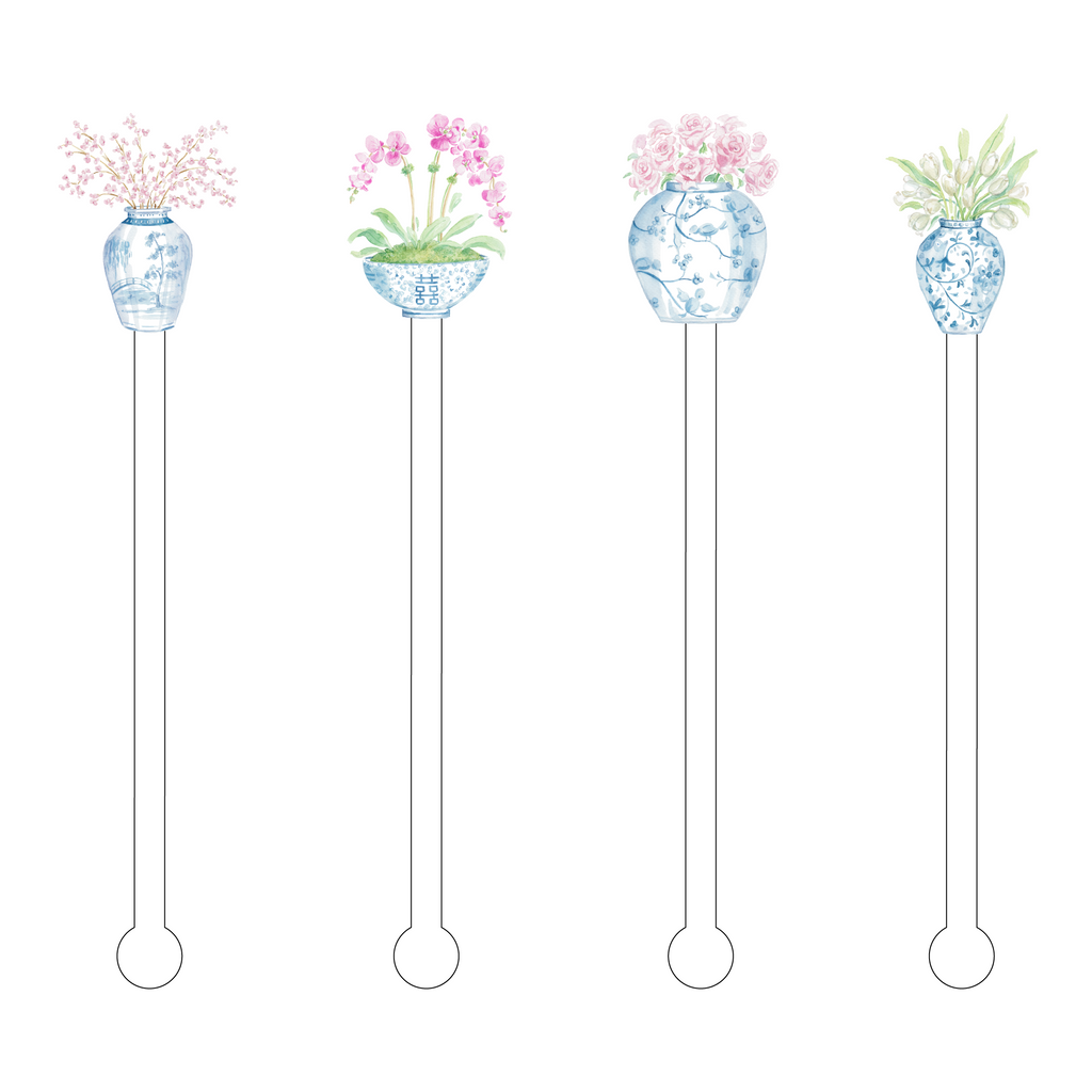 FLOWER LOVERS GINGER JAR ACRYLIC STIR STICKS COMBO