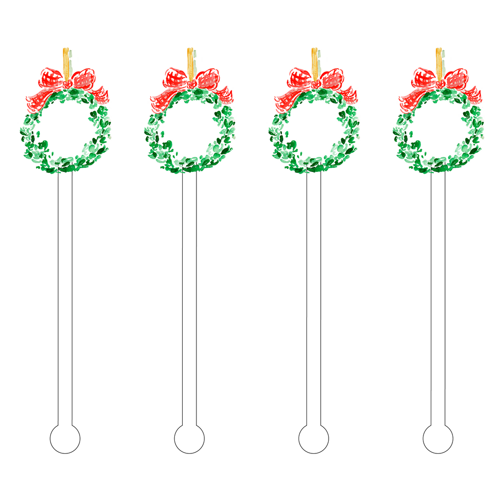 CHRISTMAS WREATH ACRYLIC STIR STICKS