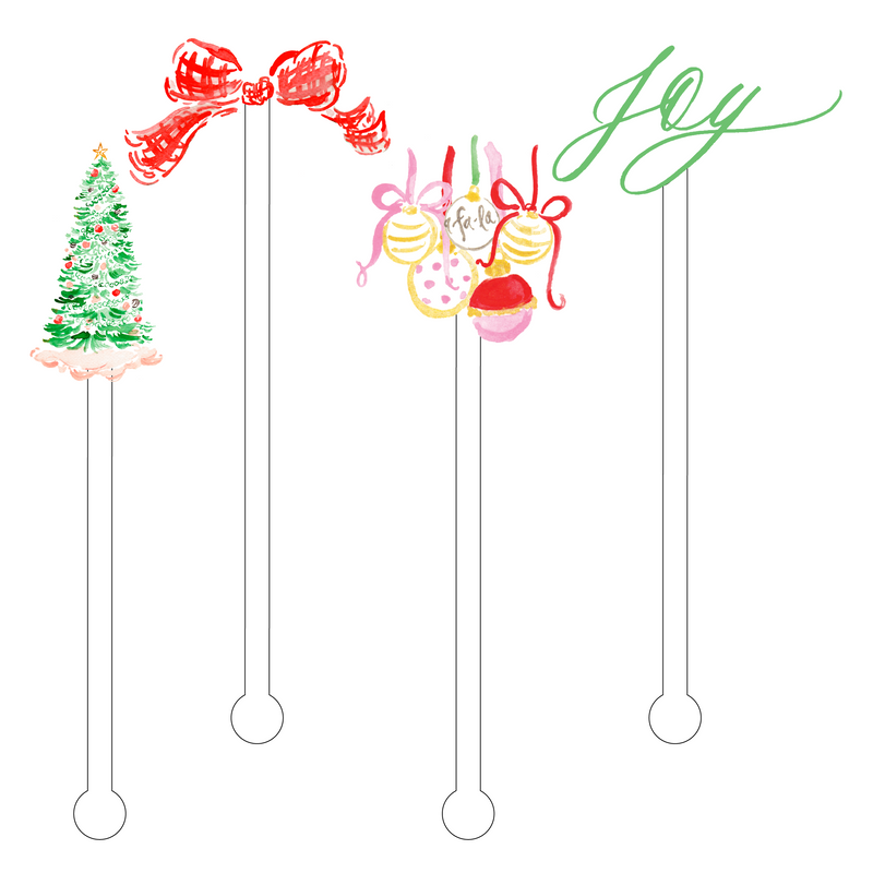 CHRISTMAS JOY ACRYLIC STIR STICKS COMBO