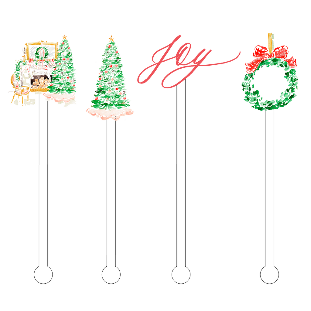 CHRISTMAS MORNING JOY ACRYLIC STIR STICKS COMBO
