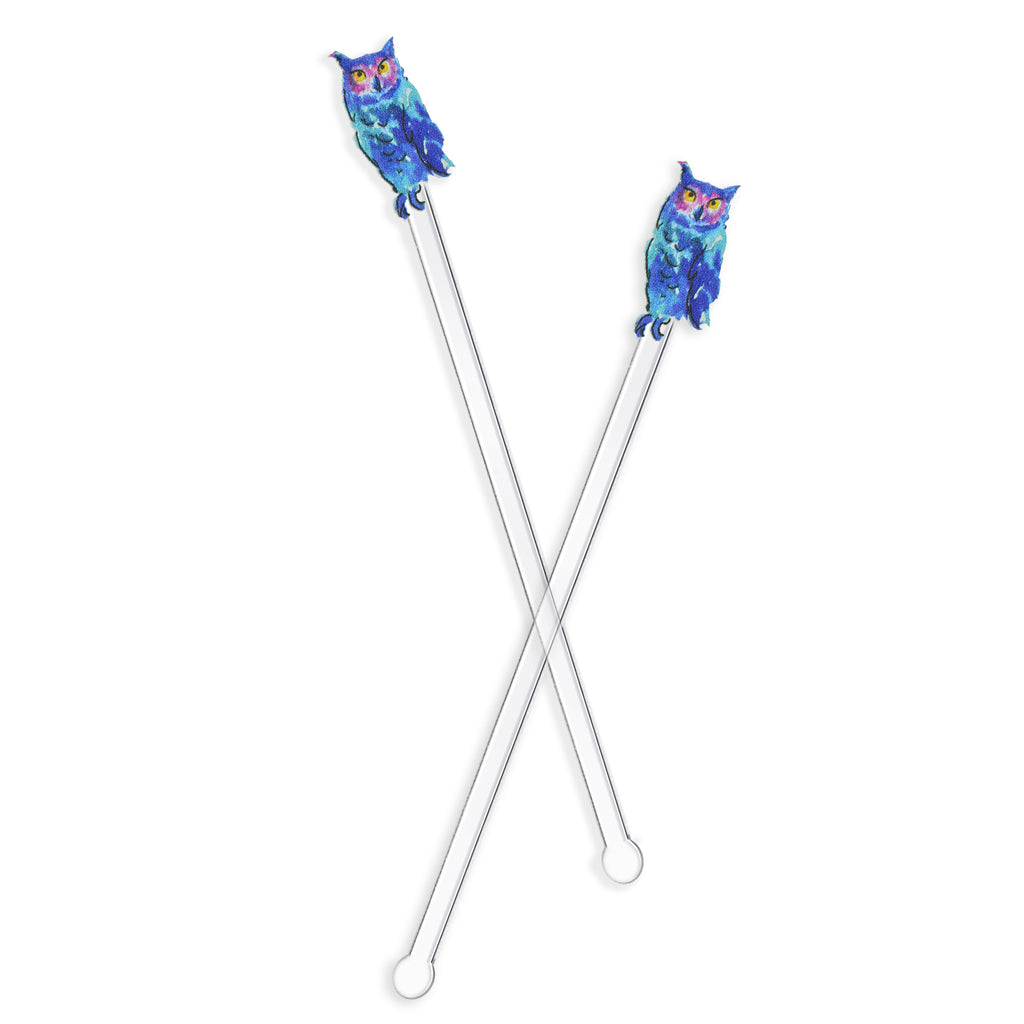 BLUE WATERCOLOR OWL ACRYLIC STIR STICKS