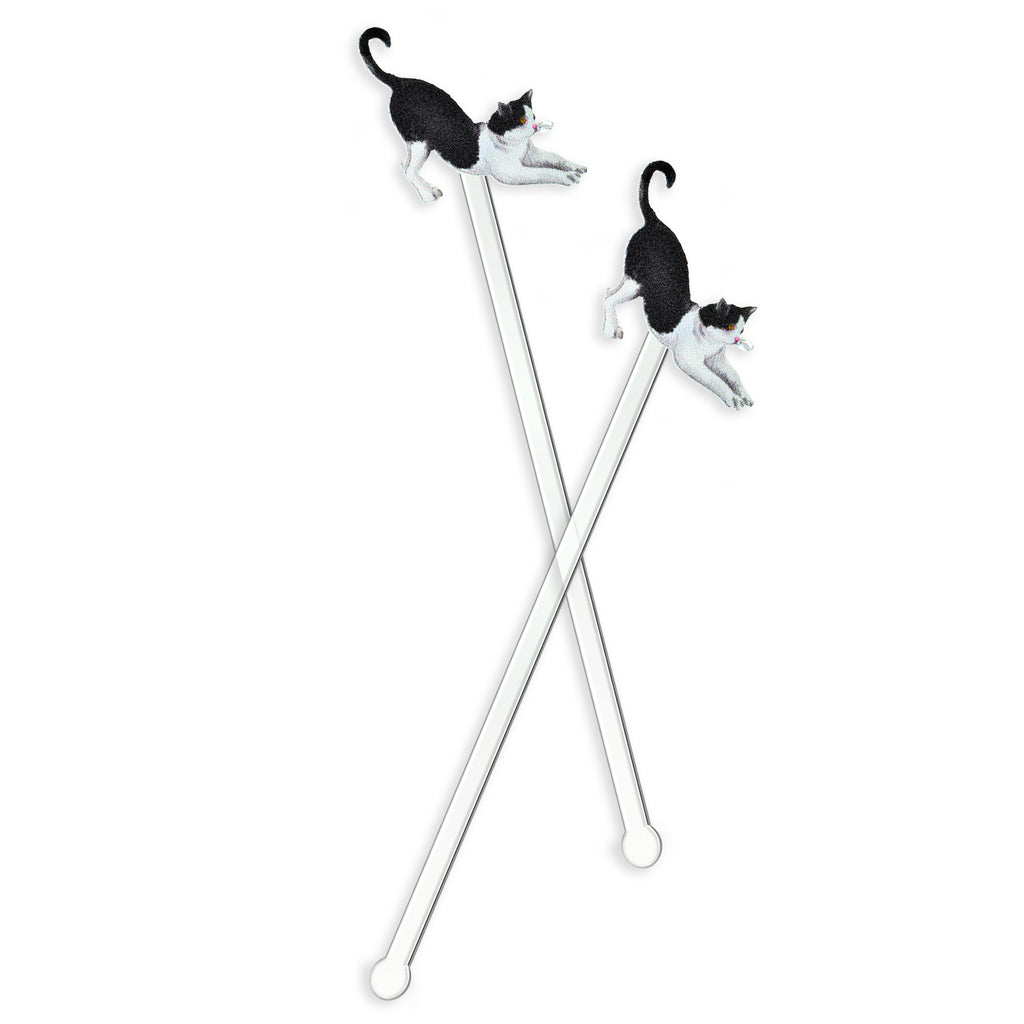 TUXEDO CAT STRETCHING ACRYLIC STIR STICKS