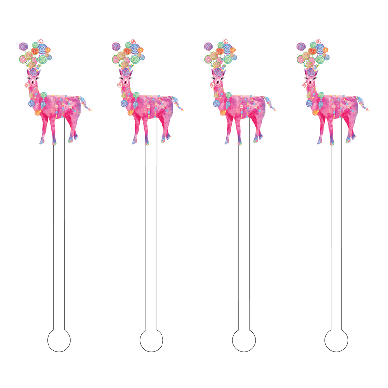 CANDY LLAMA ACRYLIC STIR STICKS