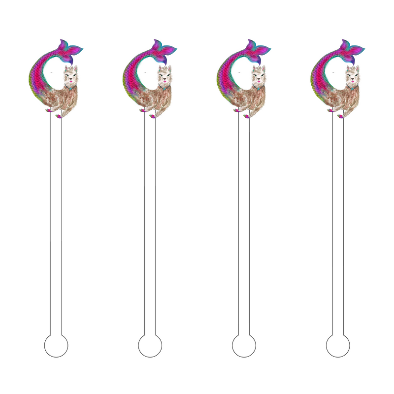 LLAMA MERMAID ACRYLIC STIR STICKS