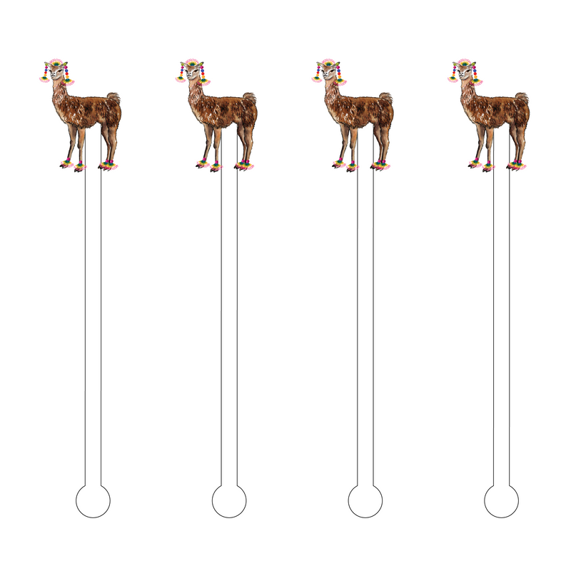 BROWN LLAMA ACRYLIC STIR STICKS