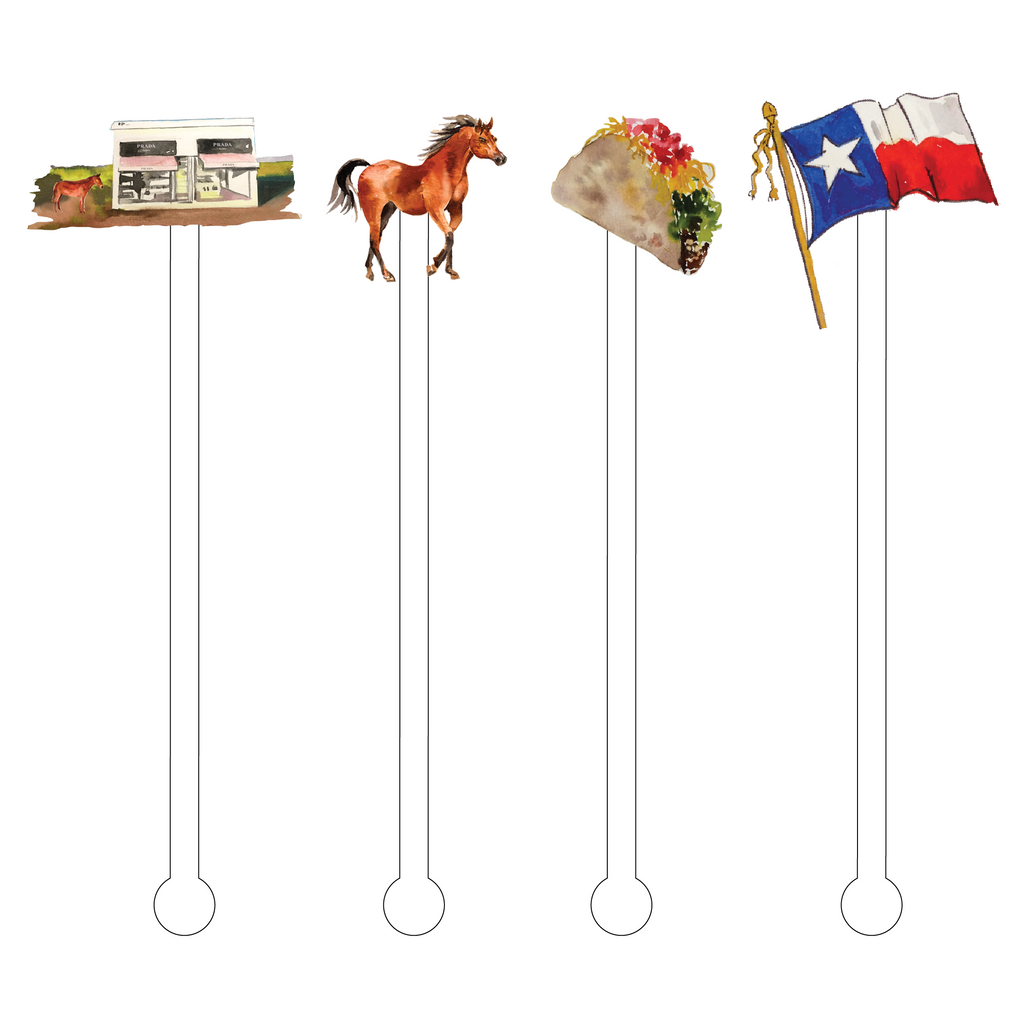 TACOS IN MARFA ACRYLIC STIR STICKS COMBO