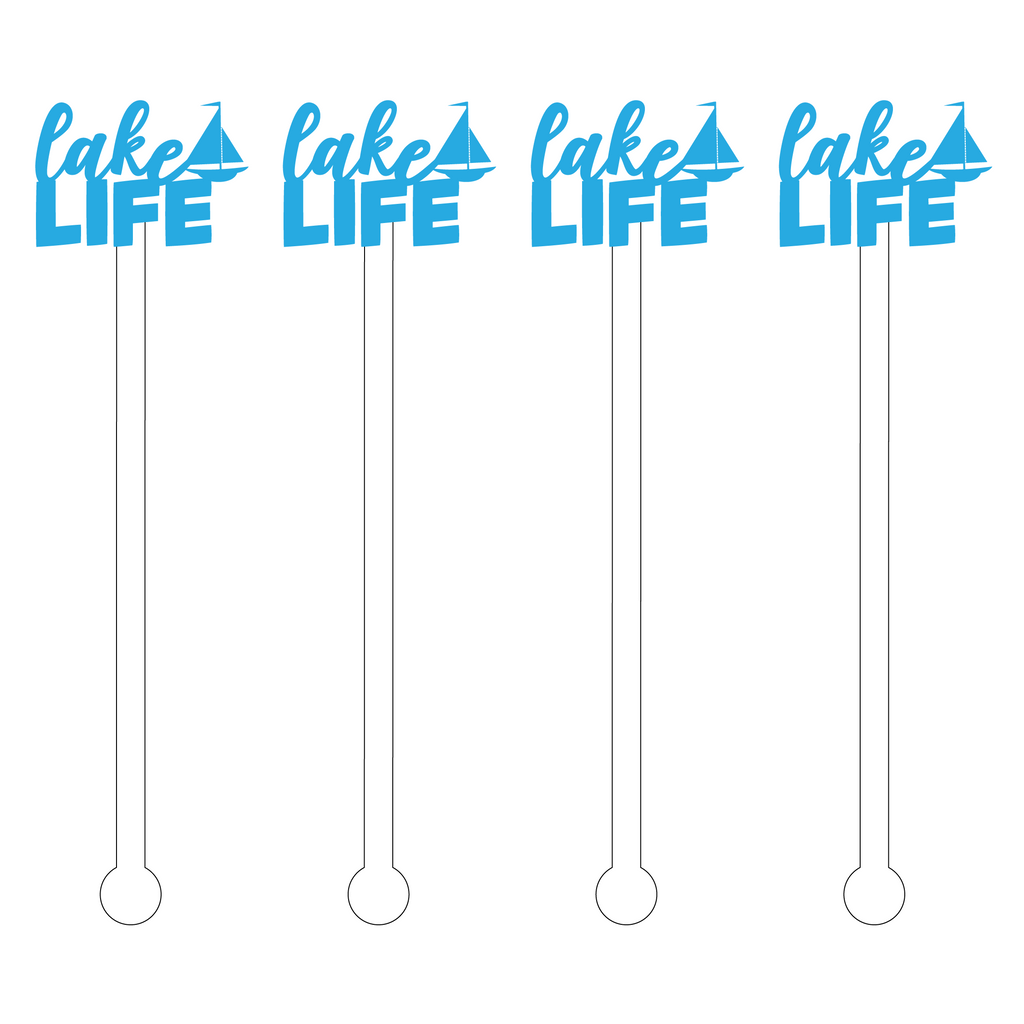 LAKE LIFE TEXT ACRYLIC STIR STICKS