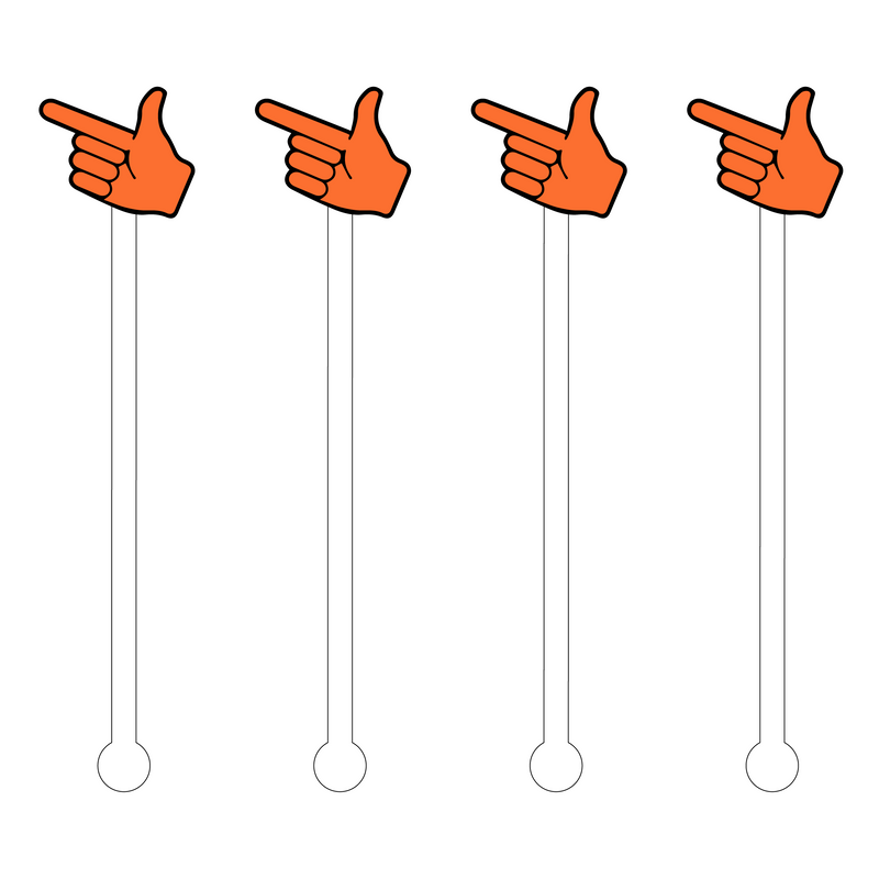 ORANGE 'GUNS UP' ACRYLIC STIR STICKS