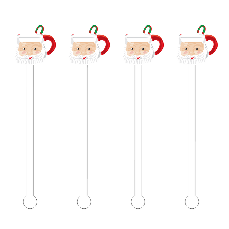 SANTA & MERRY XMAS CANDY CANE MUG ACRYLIC STIR STICKS