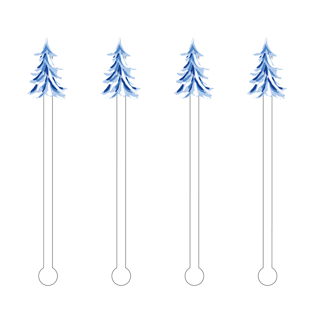 BLUE & WHITE CHRISTMAS TREE ACRYLIC STIR STICKS