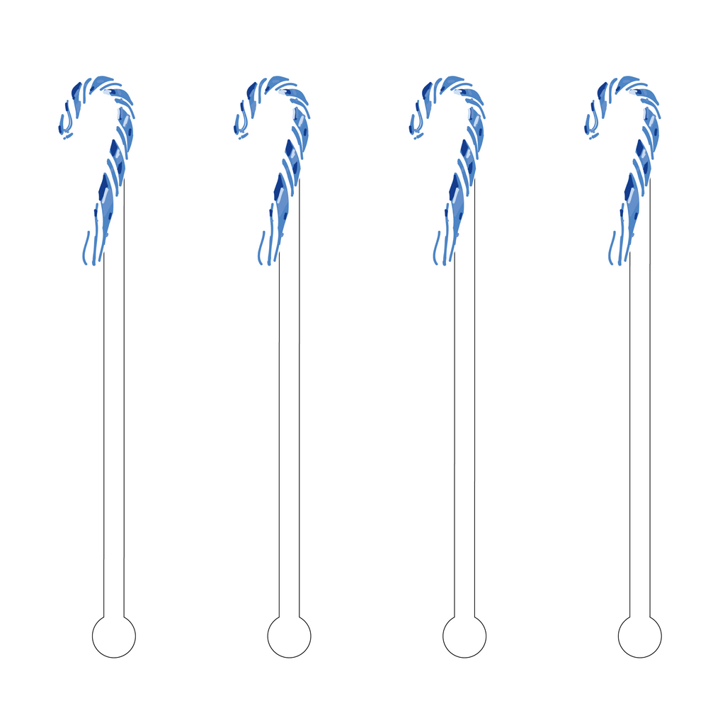 BLUE & WHITE CANDY CANE ACRYLIC STIR STICKS