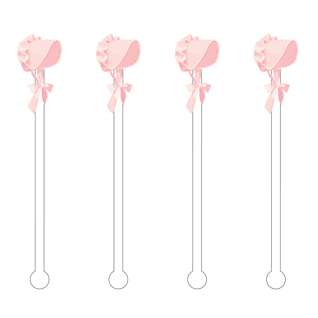 PINK BONNET ACRYLIC STIR STICKS