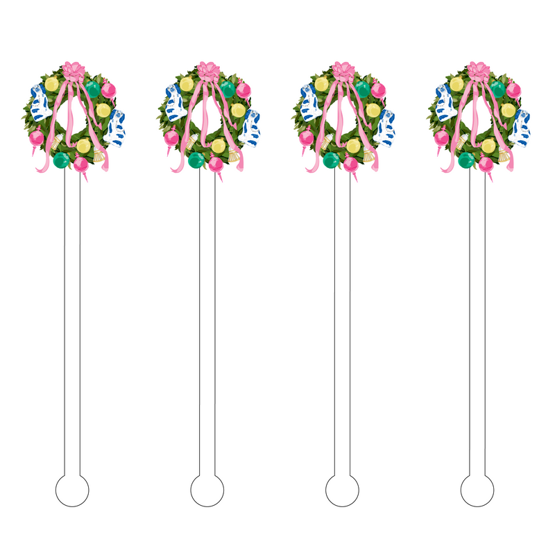 FESTIVE CHRISTMAS WREATH ACRYLIC STIR STICKS