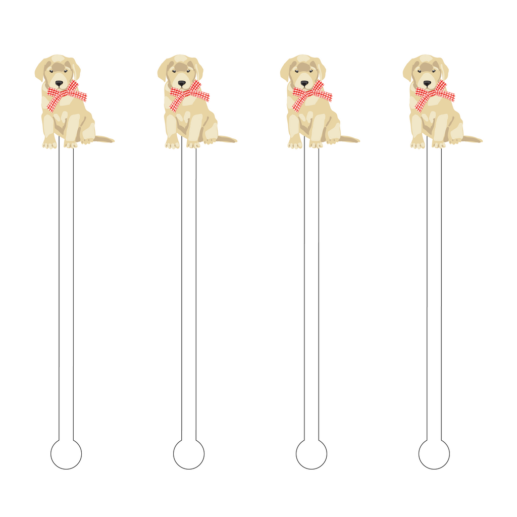 CHRISTMAS PUPPY ACRYLIC STIR STICKS