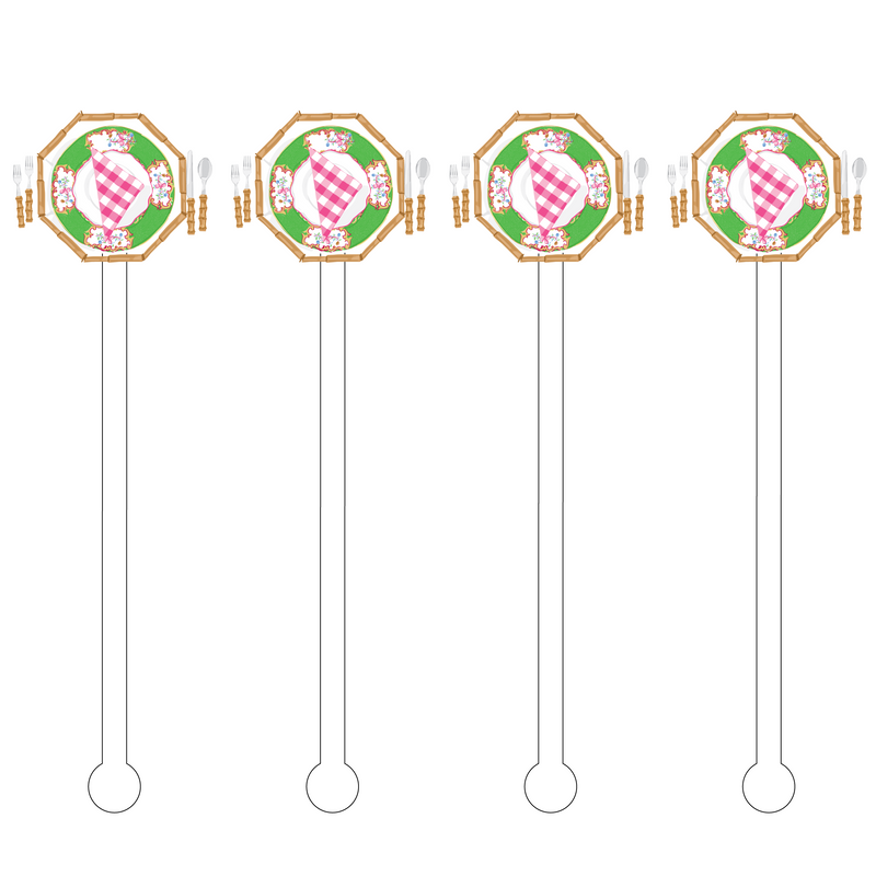 PINK & GREEN PICNIC SETTING ACRYLIC STIR STICKS