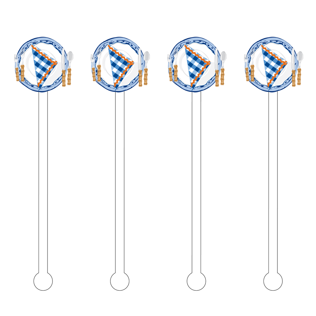 BLUE & WHITE PICNIC SETTING ACRYLIC STIR STICKS