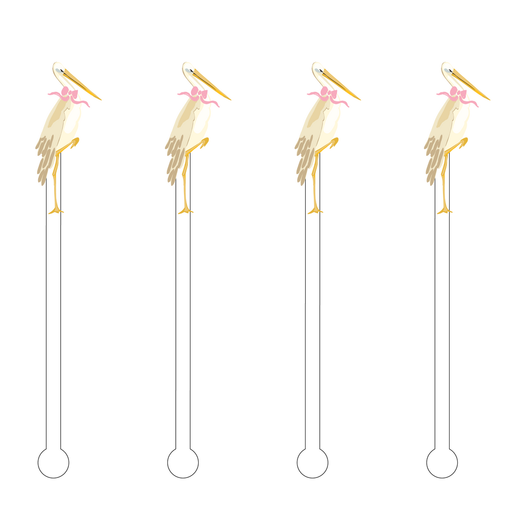 BABY GIRL STORK ACRYLIC STIR STICKS